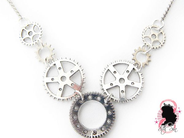 Antique Silver Gear Necklace